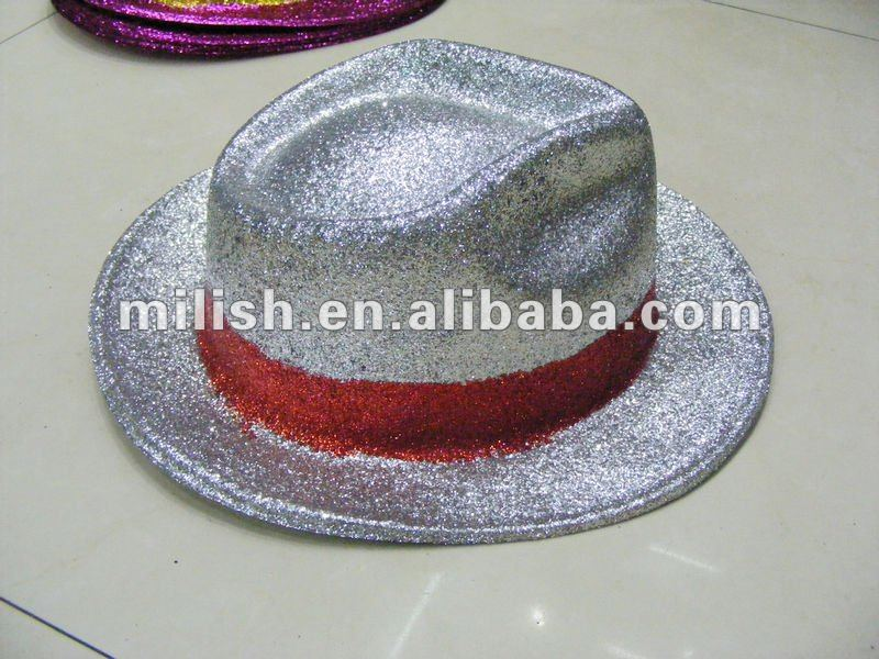 Cheap Promotional Plastic Party Glitter PVC top Hat MH-1126