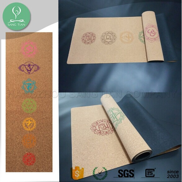 Pro custom private label sublimation digital printed eco natural rubber cork yoga mats