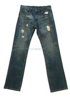 Mens scratched washed vintage classic blue patched cotton denim jeans