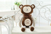 brown monkey plush toy with embroidery logo on the chest