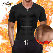 Palicy OEM Factory 3XL Shapewear Sauna Slimming Waist Girdle Vest Shirt Men Ultra Sweat Thermal T-Shirts with Sleeves & Zipper
