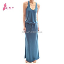 sexy women elastic Waist Knit Sleeveless maxi long sundresses