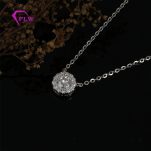 14k white gold 1 carat round brilliant diamond necklace moissanite pendant
