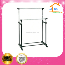 Adjustable two rod metal revolving garment rack