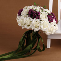 White Bridal Bouquet Polyester Wedding Flower Bouquet with Purple Little Flowers