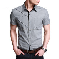 New design fashion short sleeve slim fit button shirt for men
