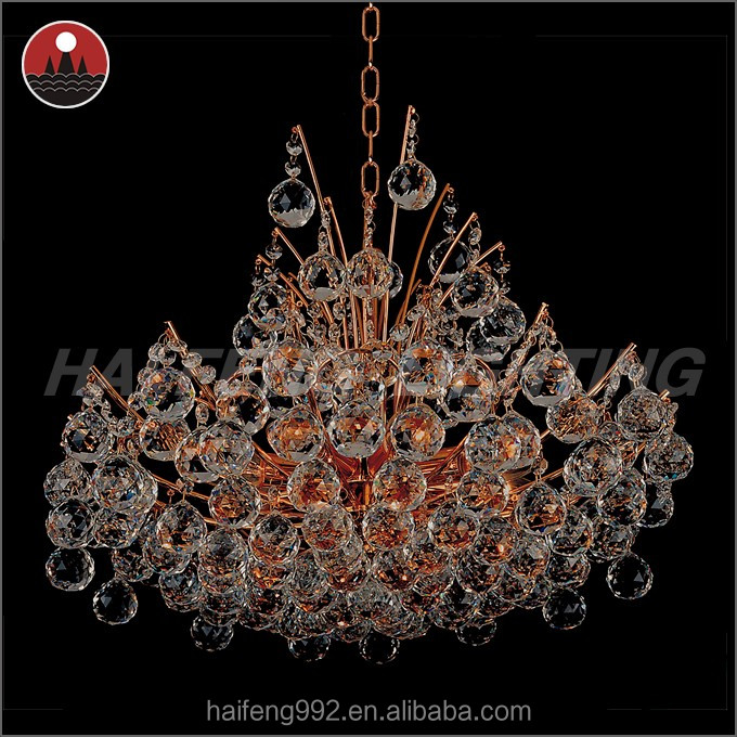 Clear crystal ball chandelier light/ Gold K9 crystal lighting