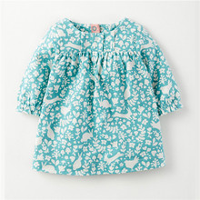 Drop Shipping 100% cotton Long Sleeve Print Kids Clothes Elegant Baby Girls Dress