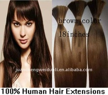 "18"" brown silky straight human hair bulk/vrigin indian remy hair product"