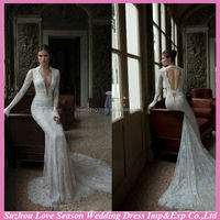 WD5040 New Fashion Factory Price High Quality unique lace appliqued tulle overlay long sleeve very long tail wedding dress