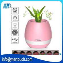 Plastic USB charging Flower pots with bluetooth mini speaker smart Flowerpots with gift packaging