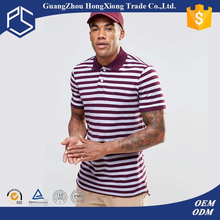 High Quality Custom Cotton Plain Red White Mens Polo Collar Striped T Shirt