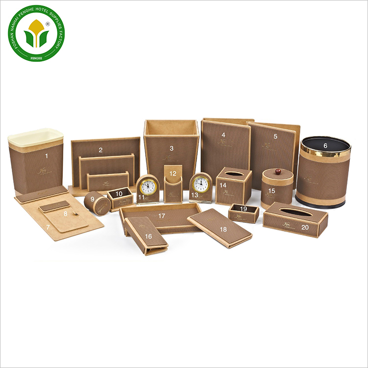 Customized logo light brown hotel leather amenity set