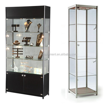 2017 Modern Silver glass display cabinet with Double Glass Door & Spotlight