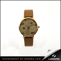 Gold Sunray Round Dots Camel Bands Fashion Strap Watches
