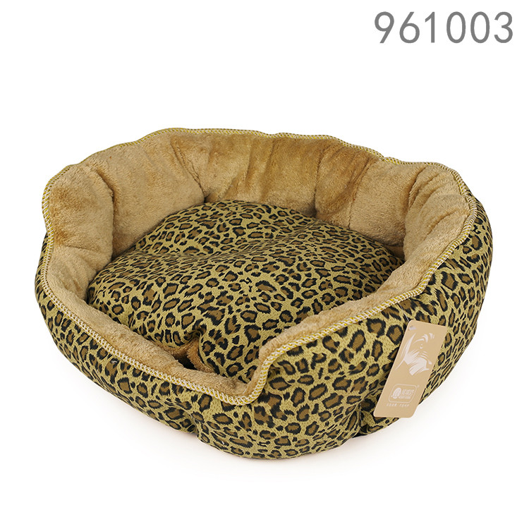 best selling hotsale cheap canvas leopard print pet dog beds with removable cushion