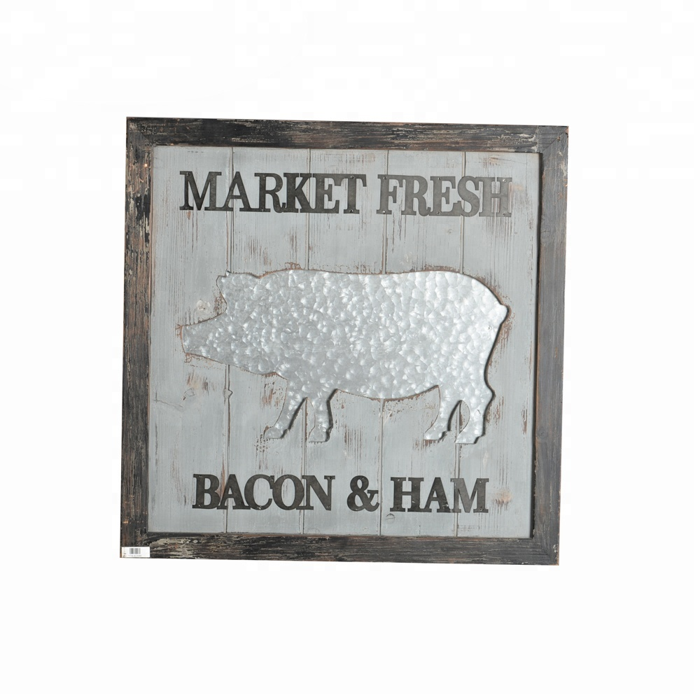 Mayco Home Decoration FARM DAIRY COW BACON & HAM Metal Wall <strong>Art</strong>
