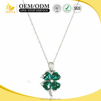 Silver stainless steel Four Leaf Clover with Green Glass Stone pendant necklace Charm Lady Jewelry