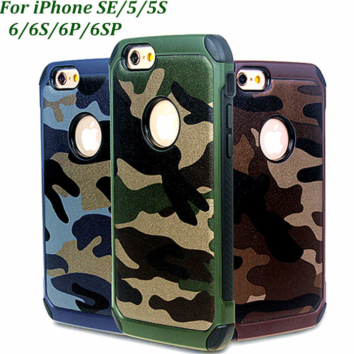 2 in 1 Army Camo Non-slip Phone Case Back Cover for iPhone 7 case