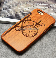 Laser engrave real wood case clock shape custom cell phone phone wood case for iphone 4 4S