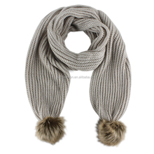 Lady's fashion acrylic polyester double layer pompon knitted scarf