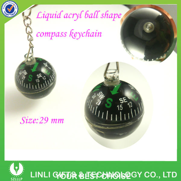 Arylic Ball Shaped Water Filling Compass Key Chain