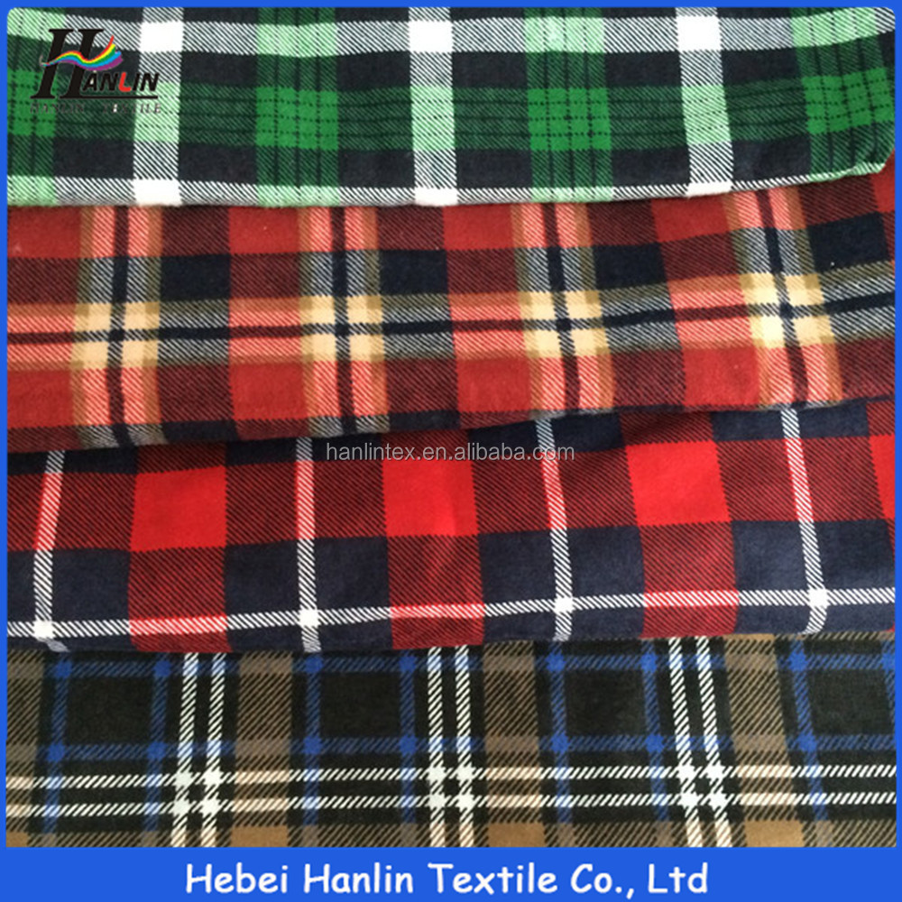 china alibaba supplier 100% Cotton Green Dyed Check Pattern Yarn Dyed Plaid Flannel Fabric Wholesale