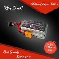 High 4S 14.8V 1300mah Lithium Battery Packs forRC Helicopter lipo batteries