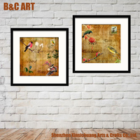 2 Panels Interior Wall Printing Pictures Abstract Bird Painting for Modern Home Decoration