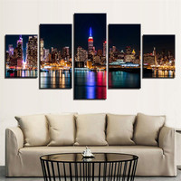 Canvas HD Prints Posters Living Room Wall Art 5 Pieces New York City Nightscape Paintings Building Pictures Home Decor Framework
