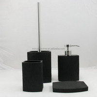 Black Resin Bathroom Set Modern Shape