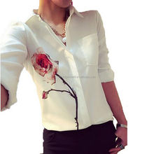New Blusas Ladies OL Elegant Women Summer Tops 2016 Lapel Collar Floral Print Chiffon Shirt Blouse