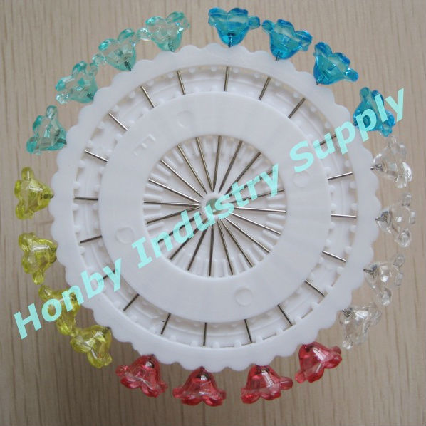 Feative supplies flower shape transparent headed pin