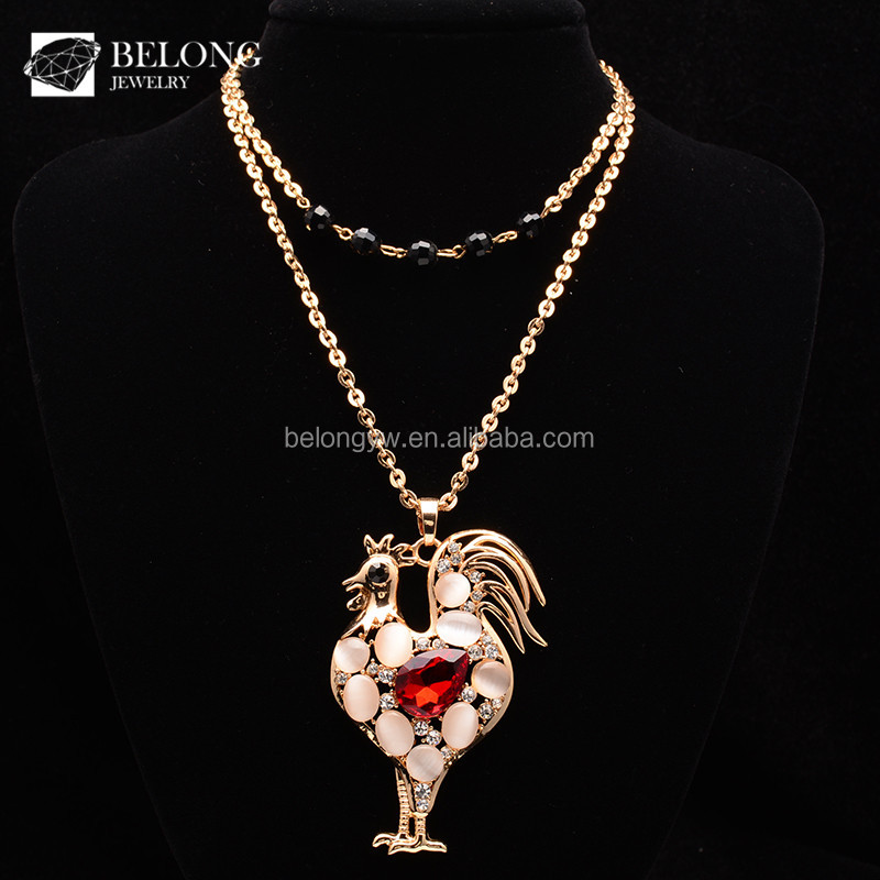 BLN0376 gem jewelry 18k gold gemstone cock ruby zirconia opal paved fashion pendant necklace