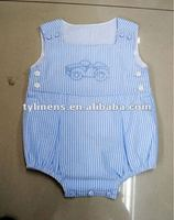 car embroidery design baby blue striped cotton romper