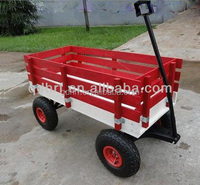 Kids classical red wagon with wooden stake TC1832
