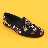Faux suede upper black women basic flat shoes lady flat shoes