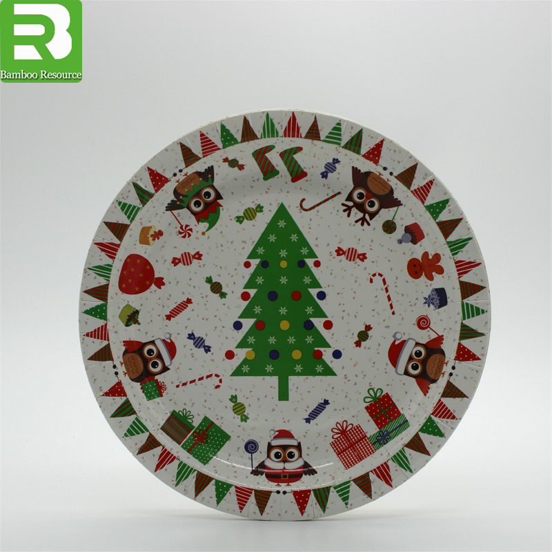 Disposable paper plate with color printed