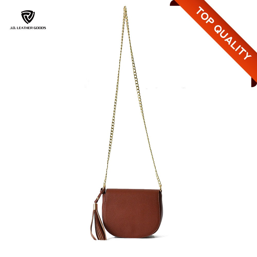 Woman Fashional Brown Tasseled Pebbled PU Leather Long Chain Bag