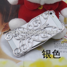 For Apple iPhone 5 5G 5S High Quality Butterfly Electroplating Deluxe Hollow Pattern PC Chrome Hard Back Case