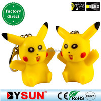 (BS-337)Multifctional Pikachu mini LED key chain with sound