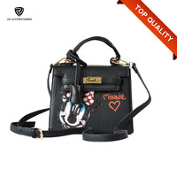 Lady Printed & Embroidered Cartoon Pattern PU Leather Satchel Bag