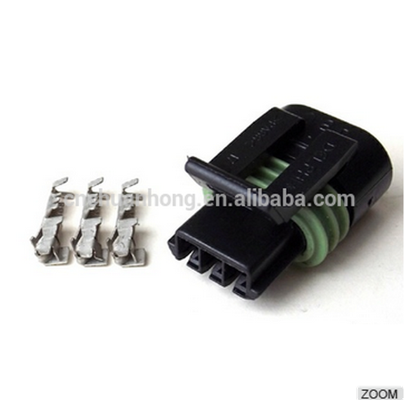 Delphi PA66 3 Pin Female Connector 12162182 Female connector with terminals and seals