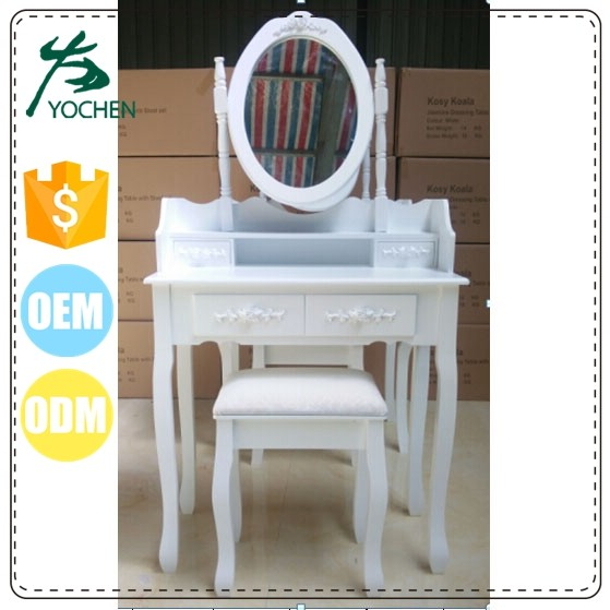 white gloss modern dressing table with mirrors design for girl make up