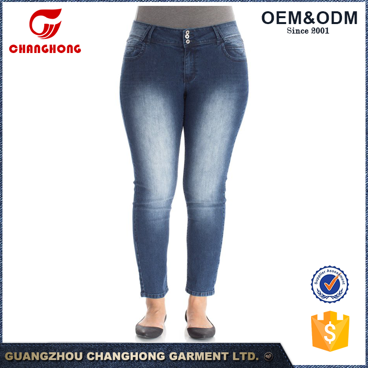 Factory Custom XXL Plus Size Long Inseam Skinny Jeans Women Lady Denim Pants