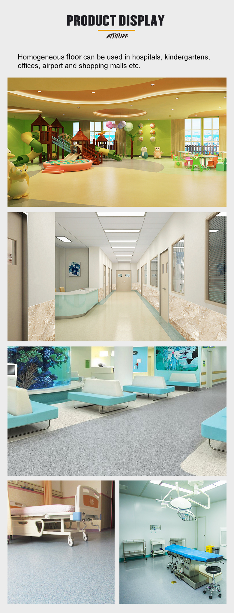 Fireproof Homogenous flooring water resistance for comercial usage