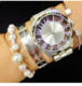 18k gold watch plated ladies watches 3 atm stainless steel case back watch