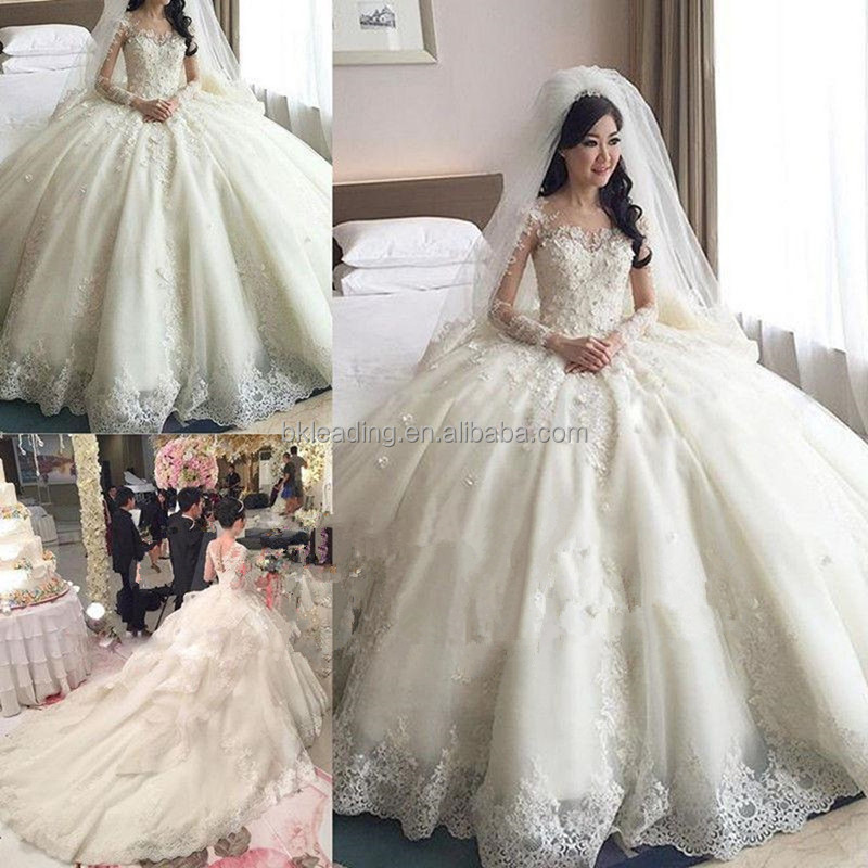 Ideal Dress 2017 Elegant Lace Ball Gown Wedding Dress with chapel train(ID50050)