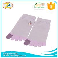 purple comfortable rabbit wholesale fashion printing five toe socks
