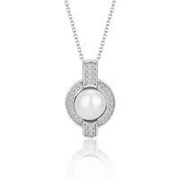 925 sterling silver cultured white pearl cage pendant